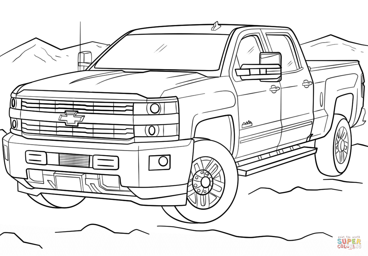 Chevrolet Silverado Hd High Country Coloring Page