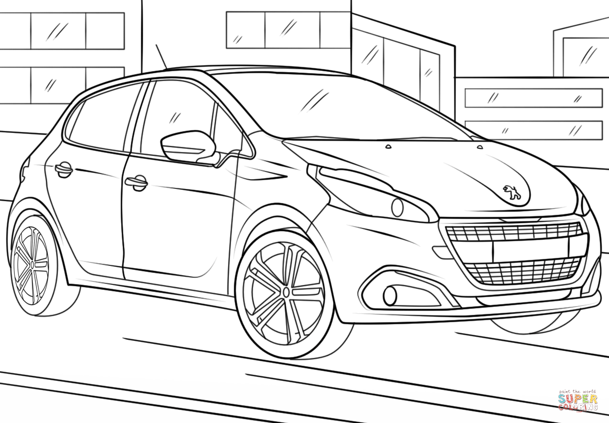 Peugeot 208 Coloring Page