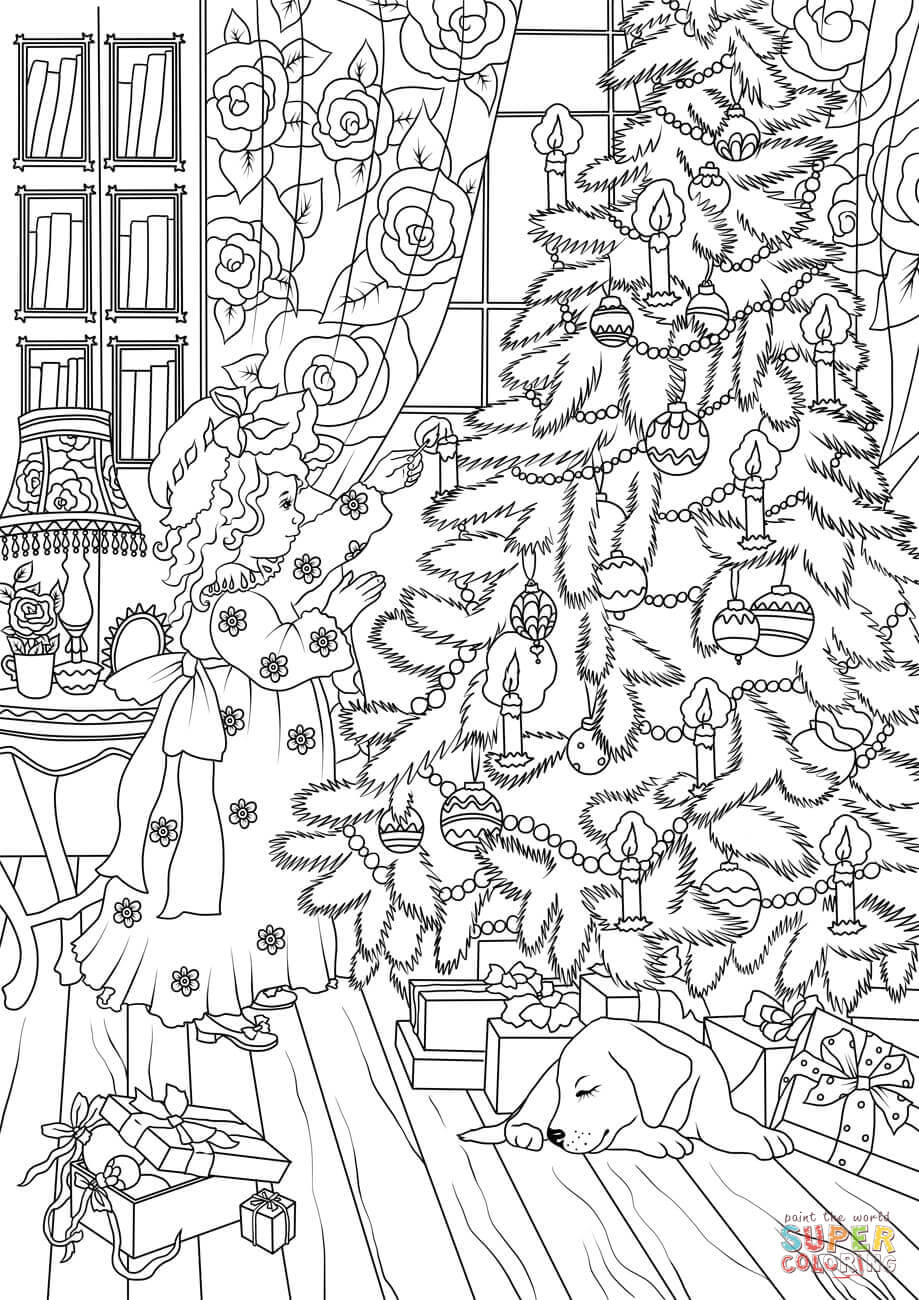 A Little Girl Is Decorating A Christmas Tree Coloring Page