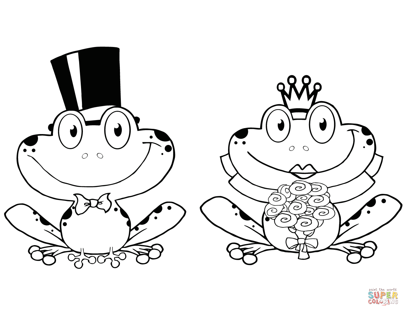 Bride And Groom Frogs Characters Coloring Page