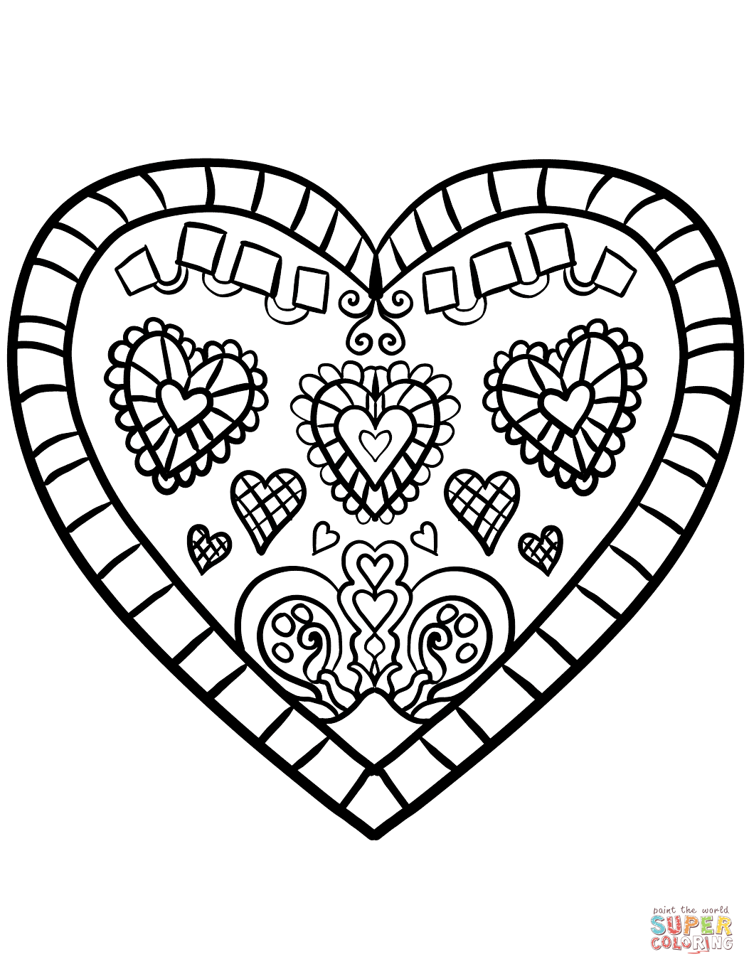 Valentines Hearts Free Printable Coloring Pages Zentangle Blank Decorated Heart
