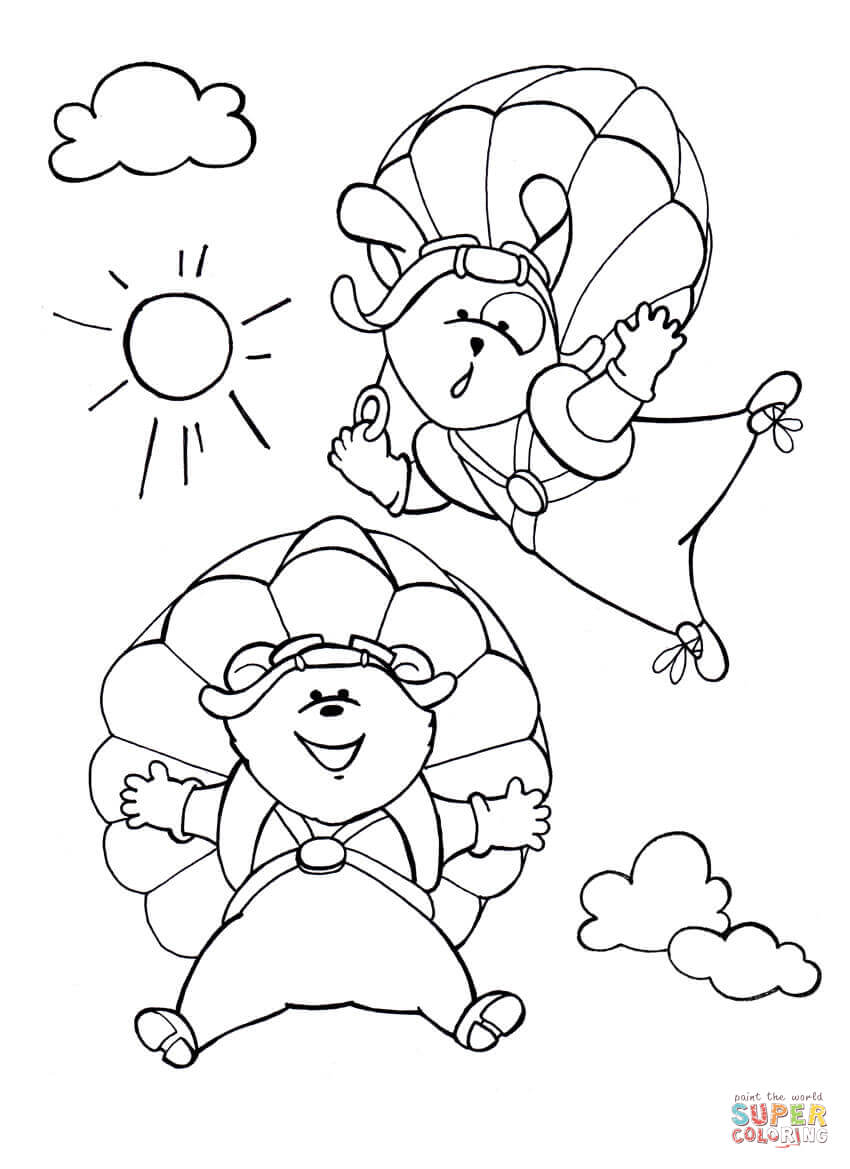 Dog and Bear Enjoy Their Parachute Flying coloring page