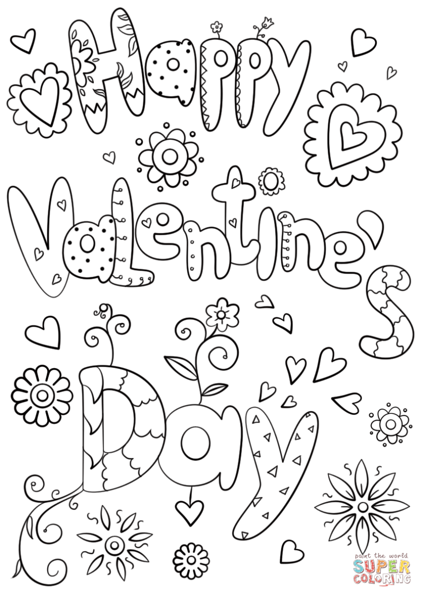 happy valentine's day coloring page  free printable