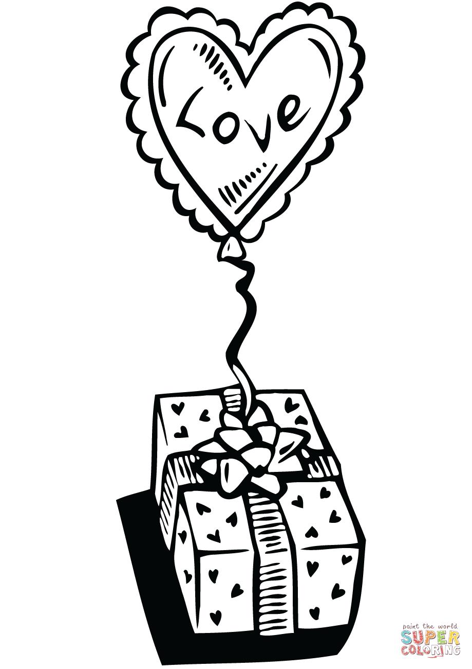 Dibujo de Globo en forma de corazón con regalo para