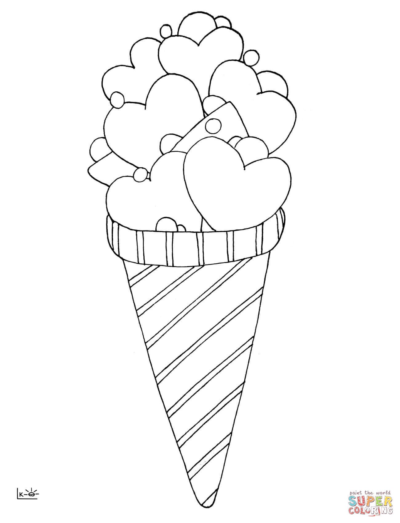 Love Ice Cream Coloring Page Free Printable Coloring Pages