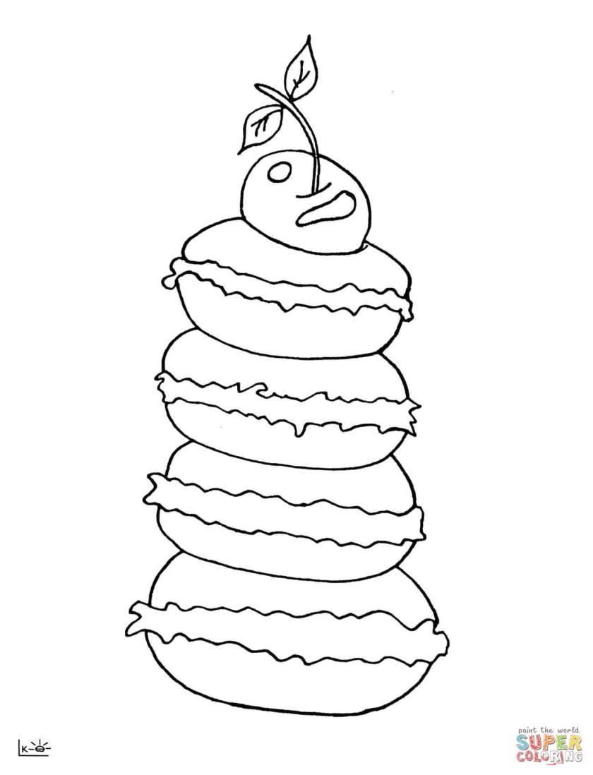 macarons  cherry coloring page  free printable