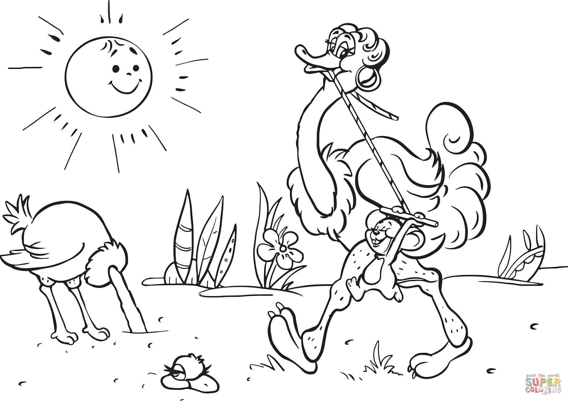 Ostrich And Mouse Are Running Coloring Page