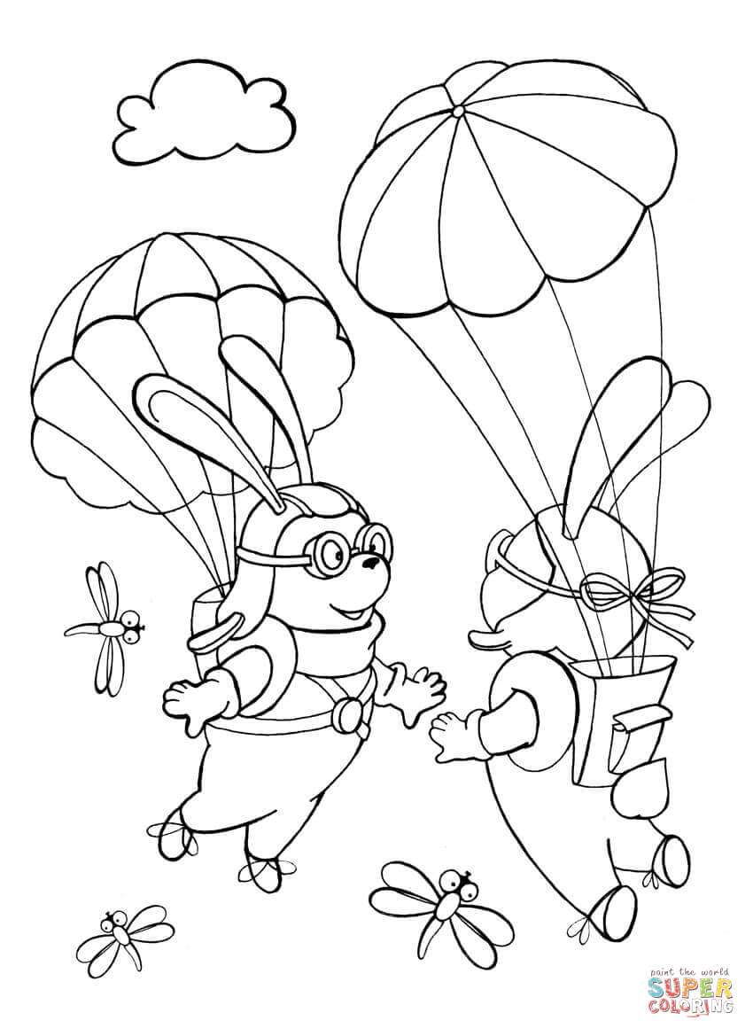 Rabbits Parachutists Met Each Other in the Sky coloring
