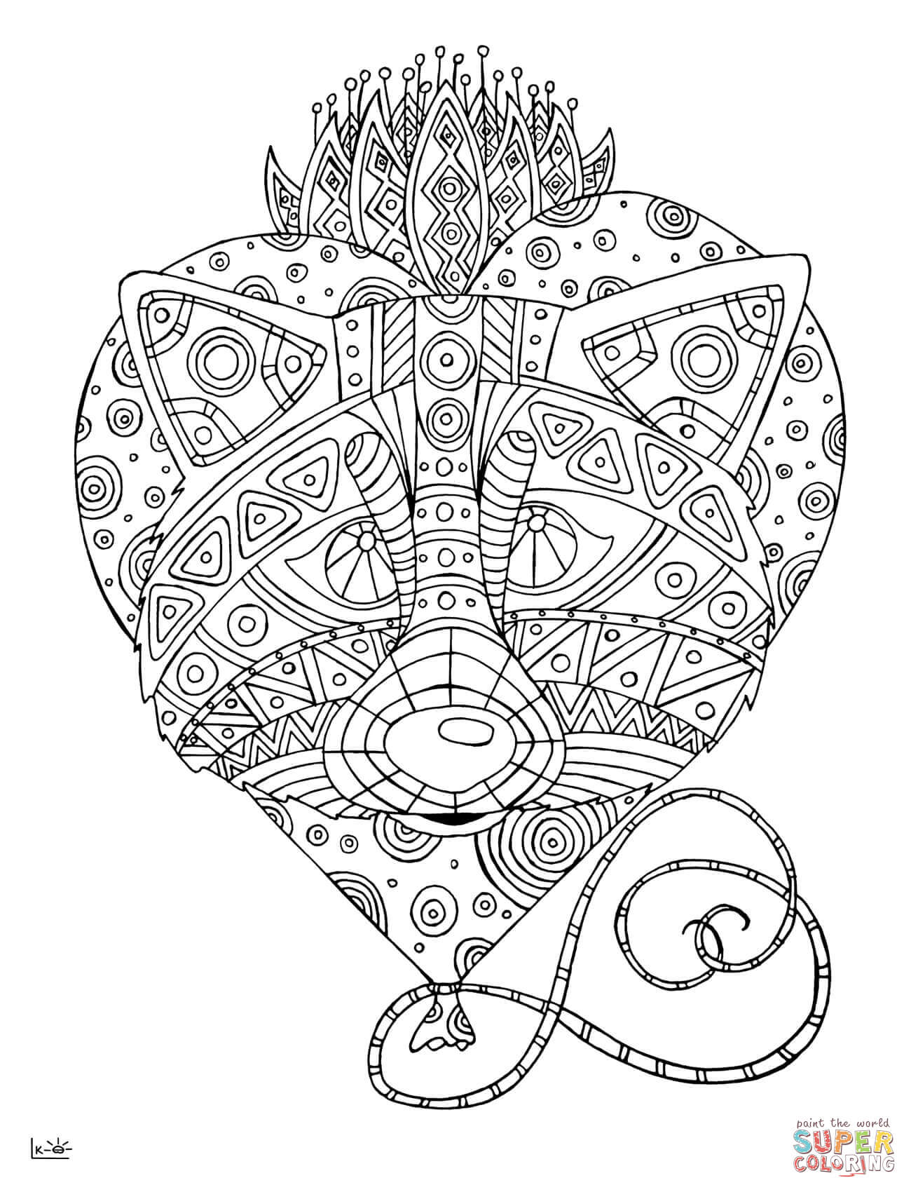 Raccoon With Tribal Pattern Coloring Page