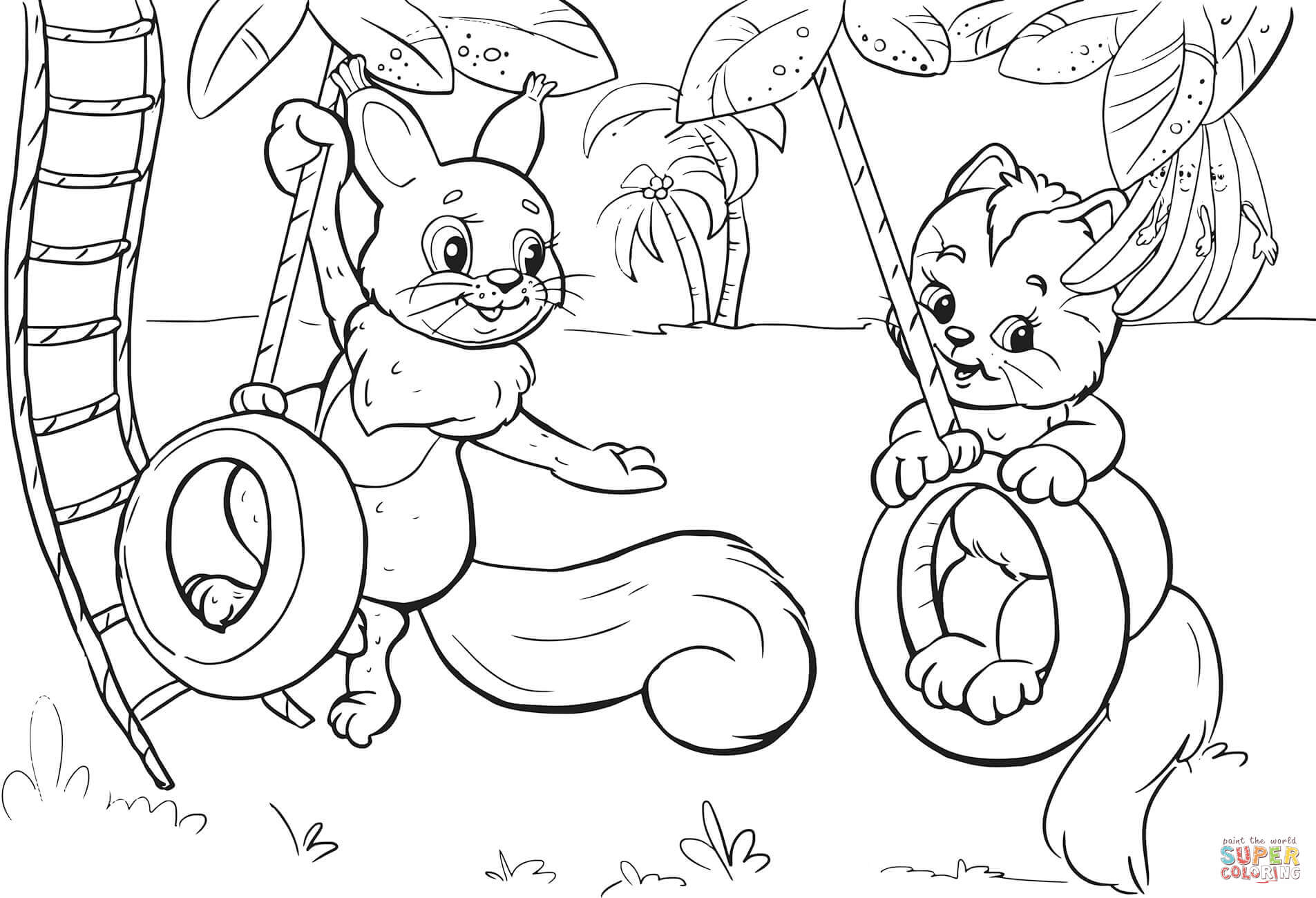 Squirrel And Cat Swinging On Tire Swing Coloring Page