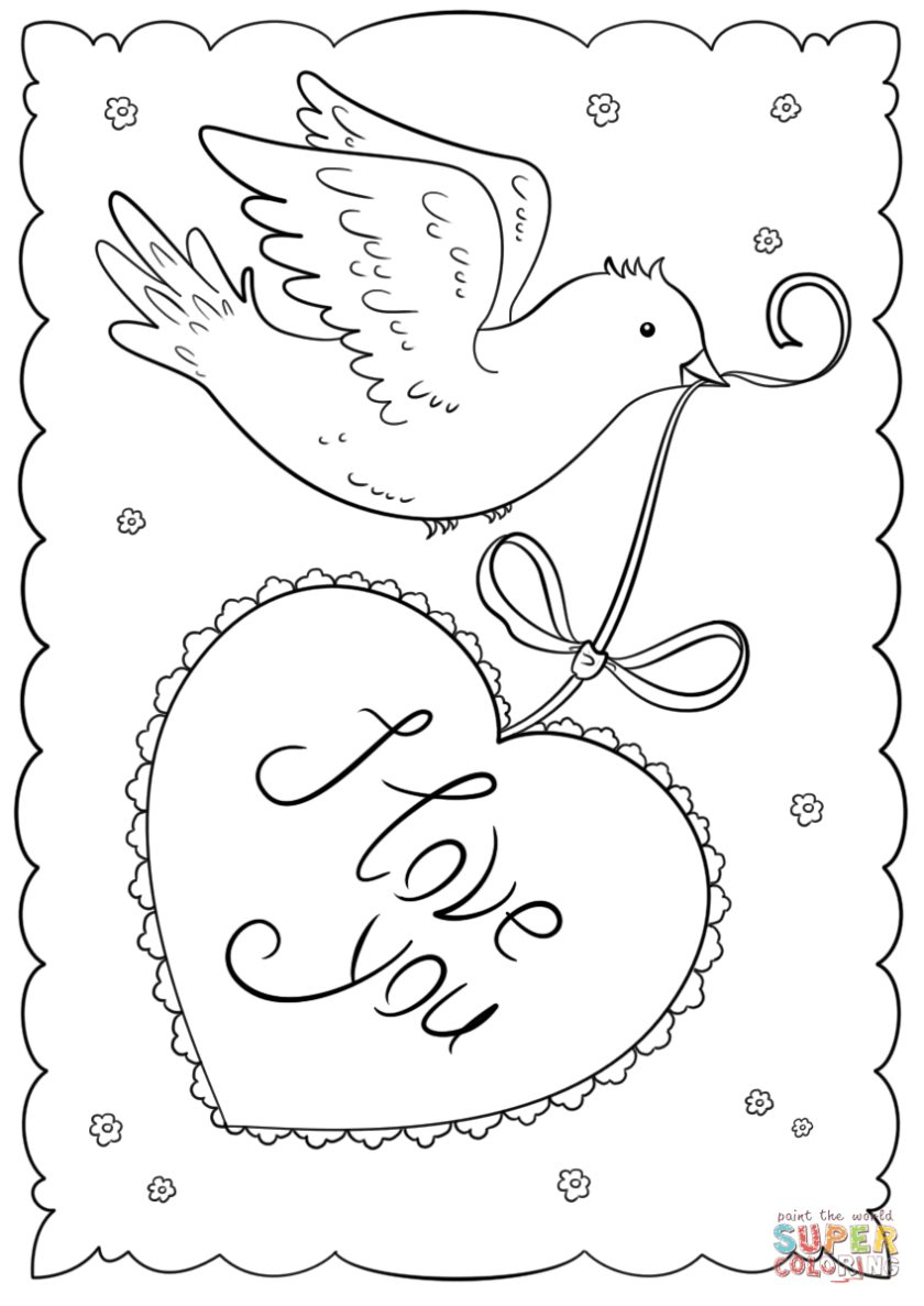"""""""i love you"""" card coloring page  free printable coloring"""