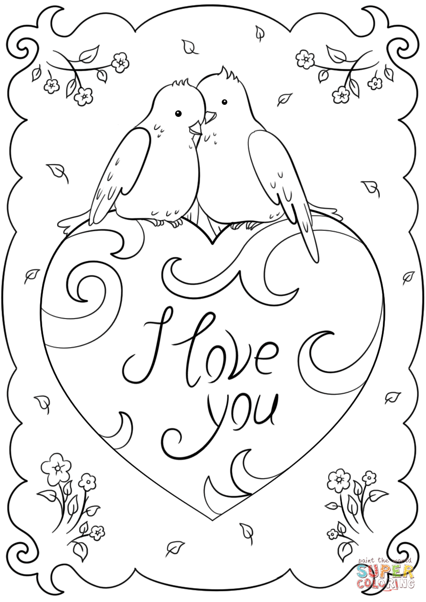 I love you card coloring page free printable coloring, love you coloring pages