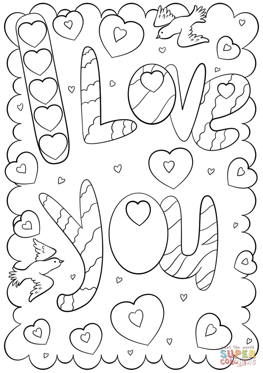 I love you doodle card coloring page free printable, love you coloring pages
