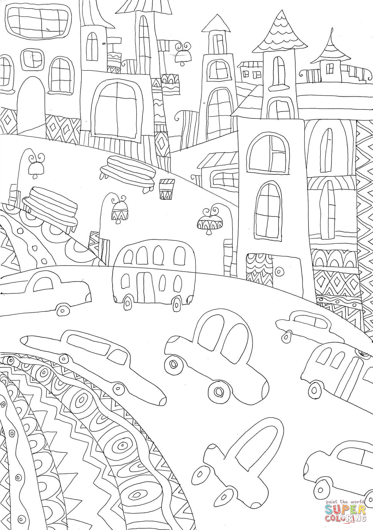 Streets Coloring Page