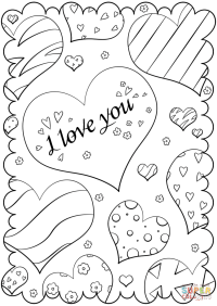 """Valentine's Day Card """"I Love You"""" coloring page 
