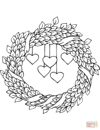 St. Valentine's Day Wreath coloring page   Free Printable ...