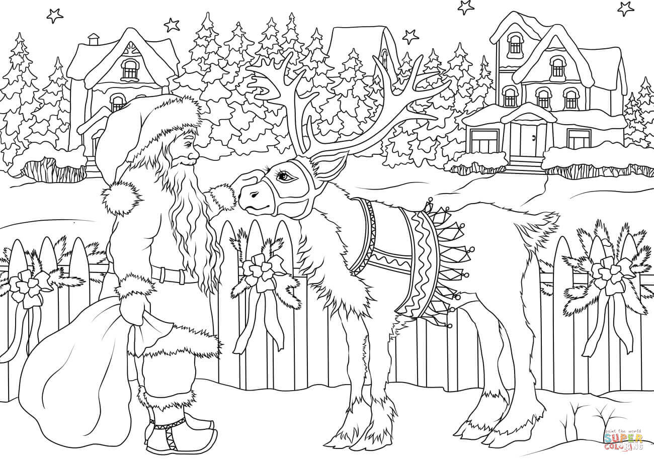 Vintage Santa Claus With His Christmas Deer Coloring Page