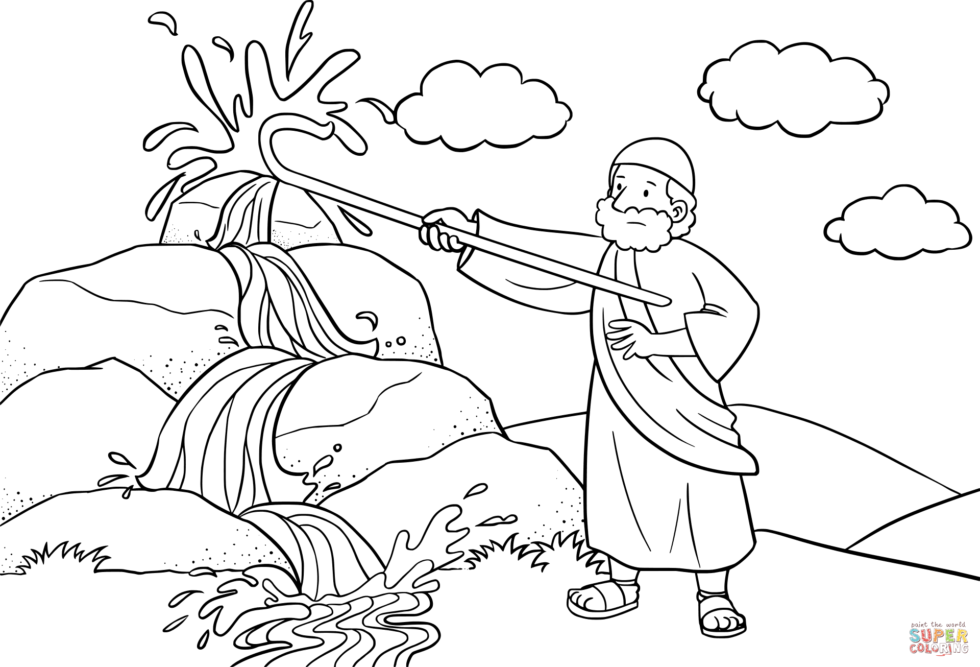 Moses Strikes The Rock With His Staff Coloring Page