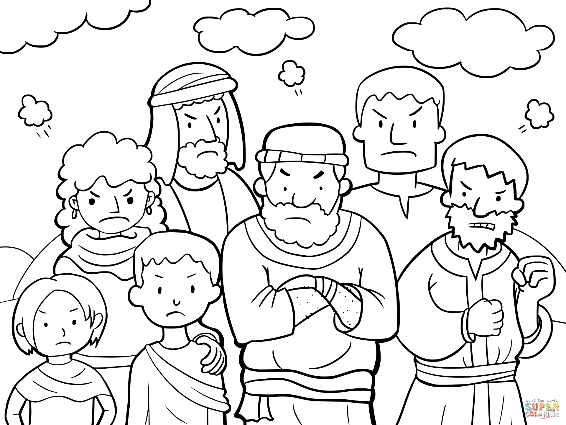 Israelites Grumbled Against Moses Coloring Page