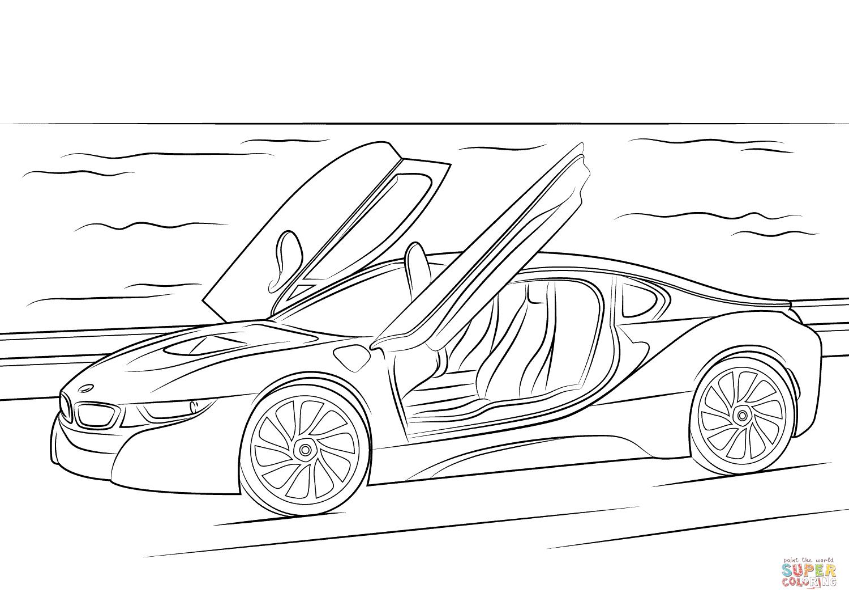 Dibujo De Bmw I8 Para Colorear