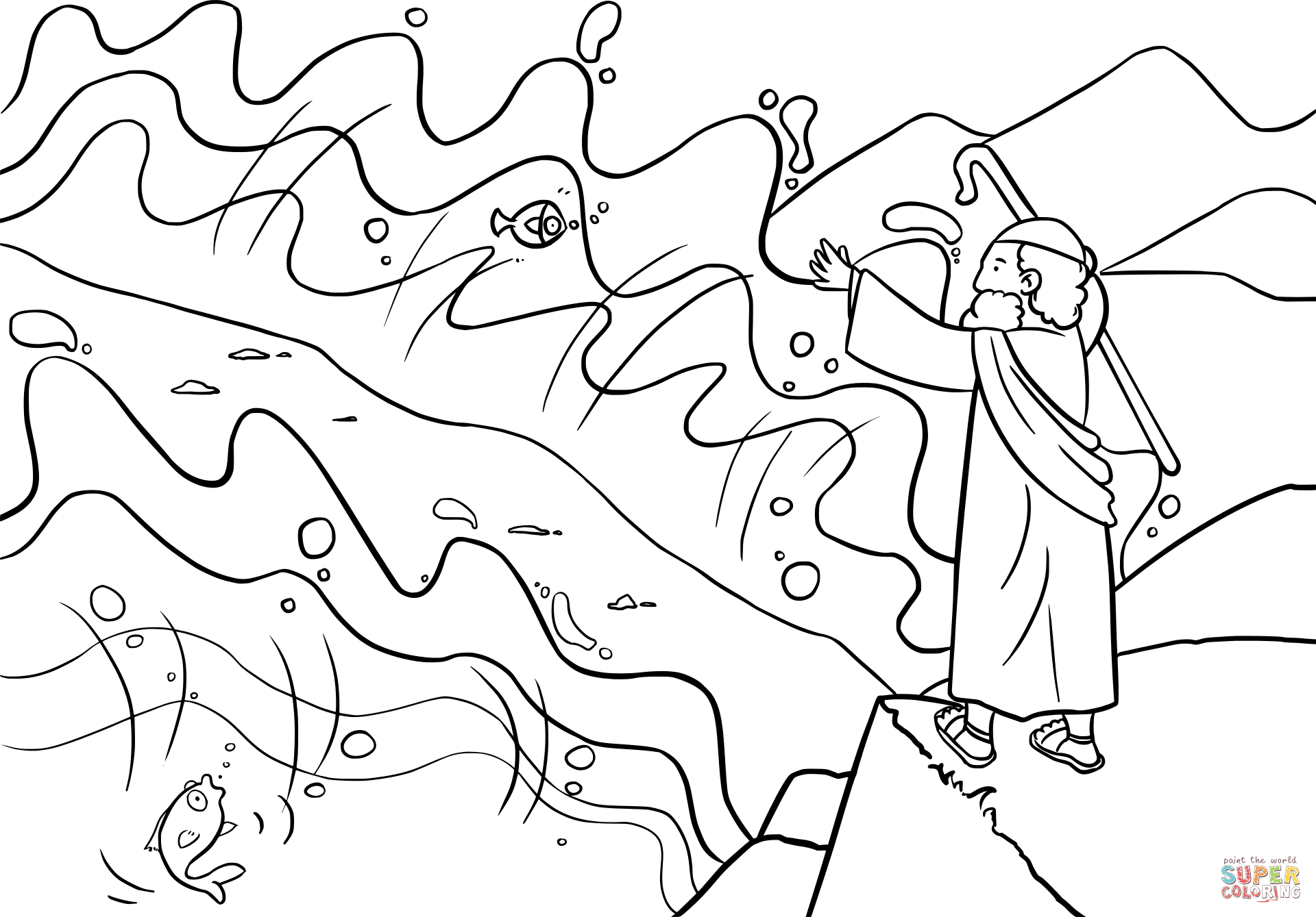 Moses Parts The Red Sea Coloring Page Free Printable Coloring Pages