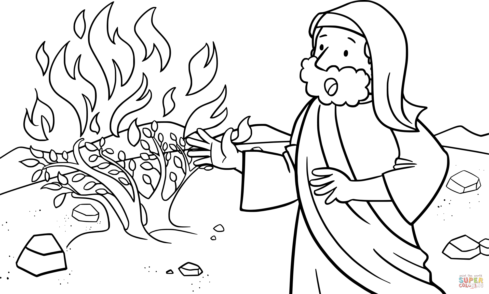Moses Talking to God on the Mount Horeb coloring page