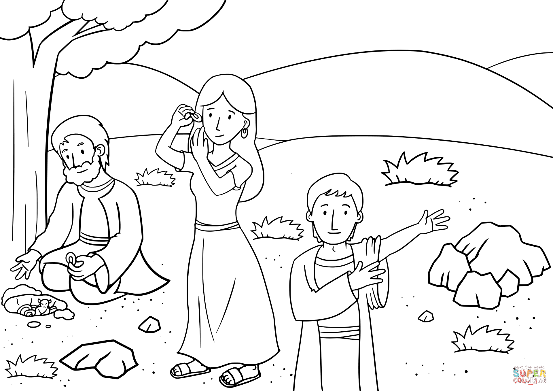 Jacob Buried All The Foreign Gods Under The Oak At Shechem Coloring Page