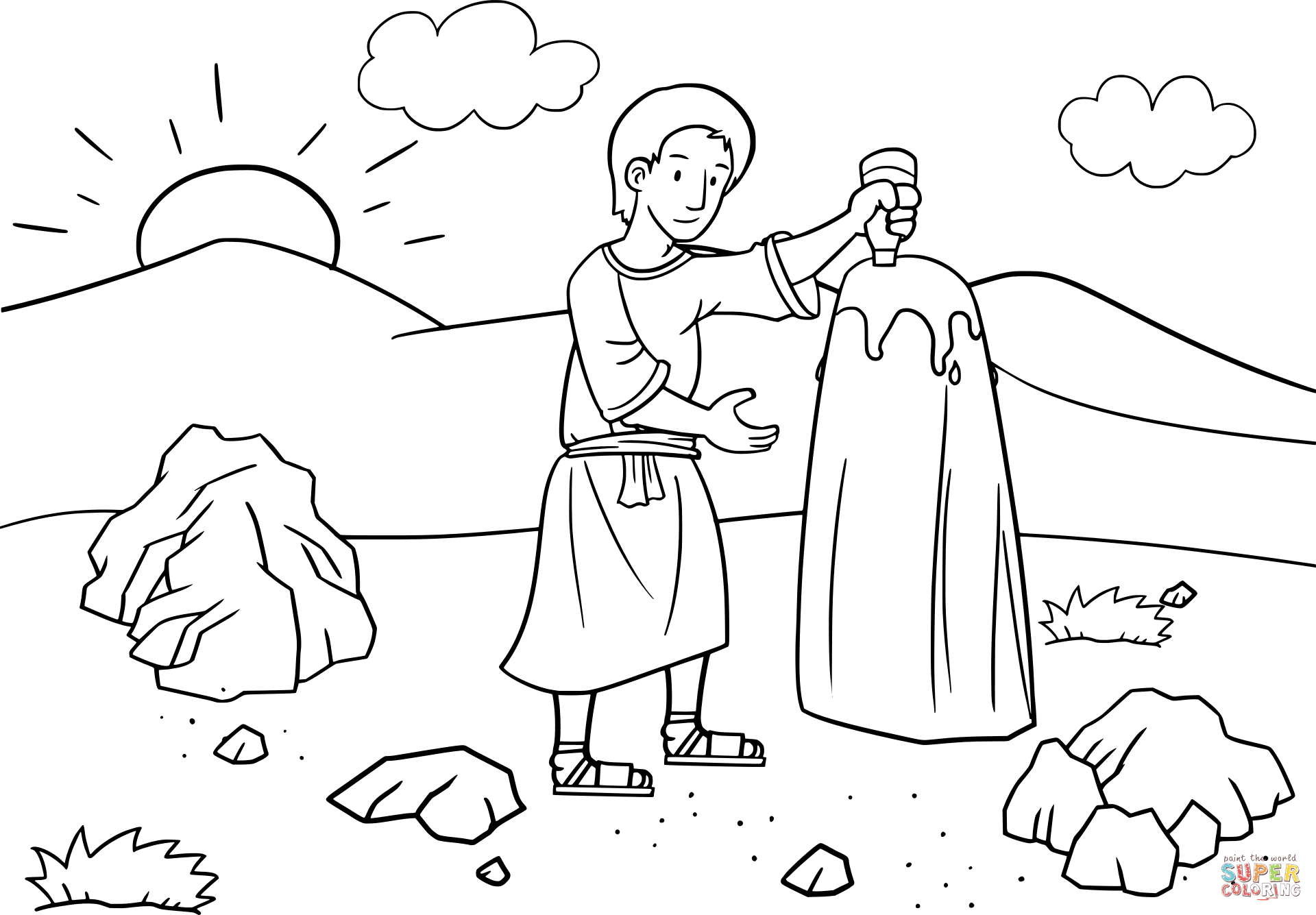 Jacob Anoints The Baetylus Stone With Oil Coloring Page
