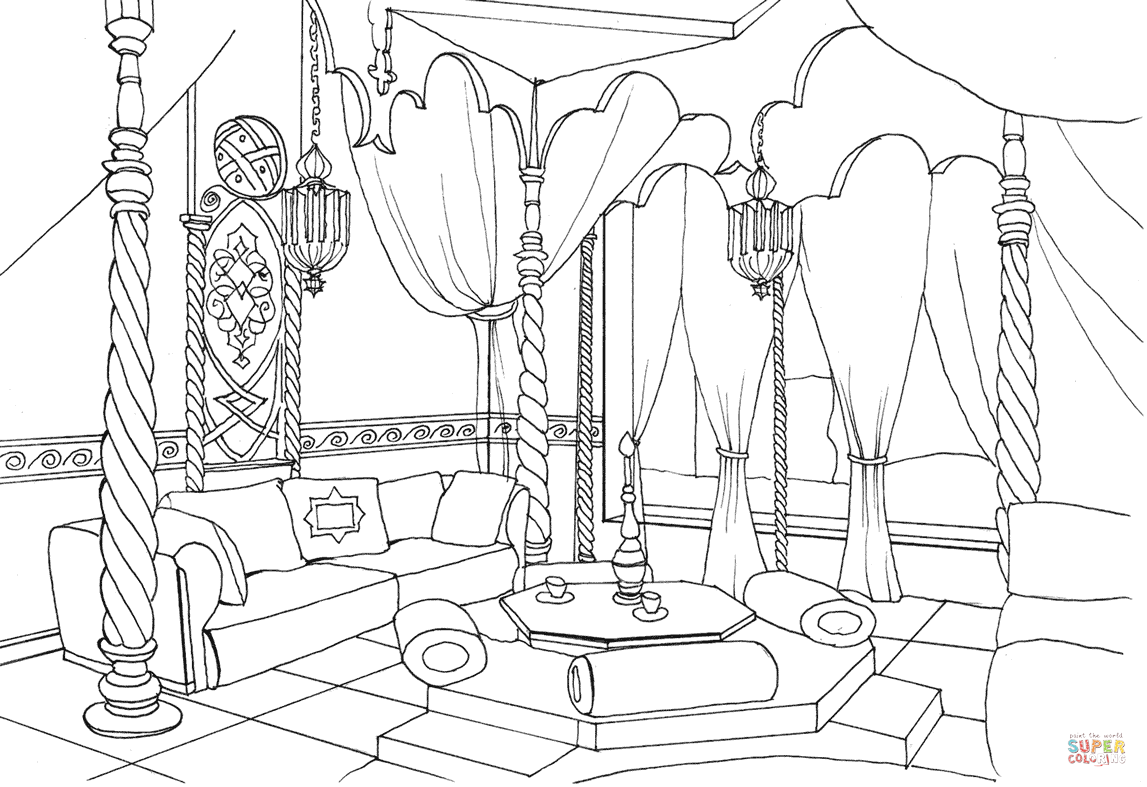 Room Colouring Page On The Broom Sketch Coloring Page