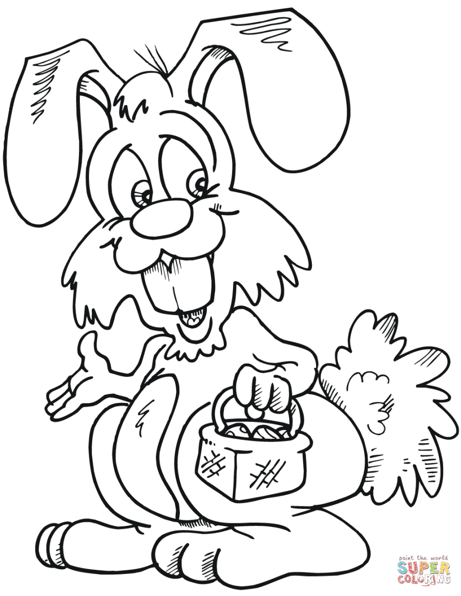 Easter Bunny with Basket coloring page   Free Printable ...