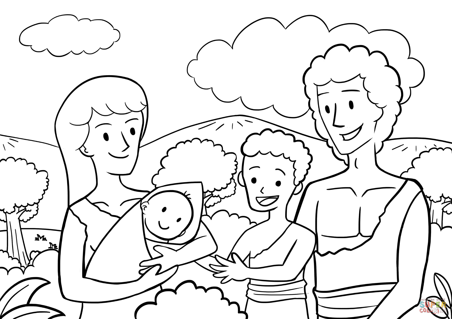 First Children Of Adam And Eve Coloring Page