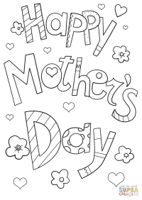 Happy Mother's Day Doodle coloring page