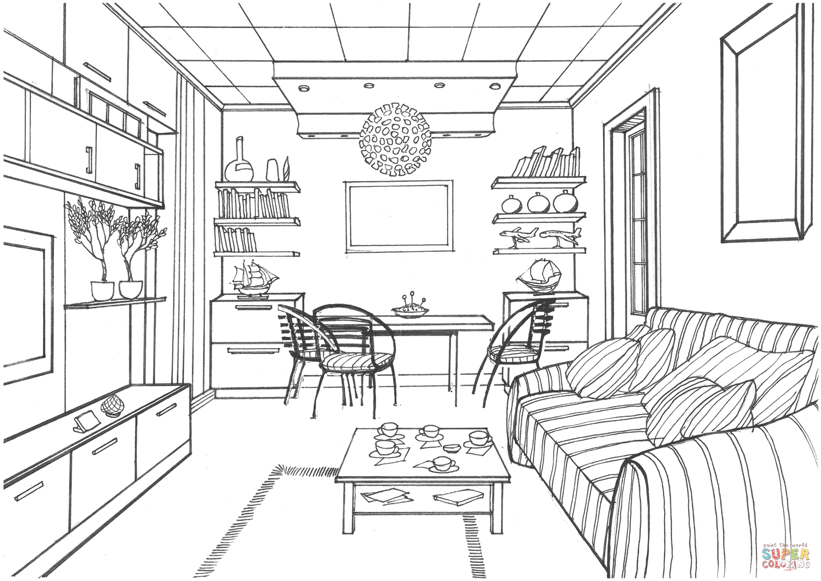Living Room With A Luminous Ball Coloring Page