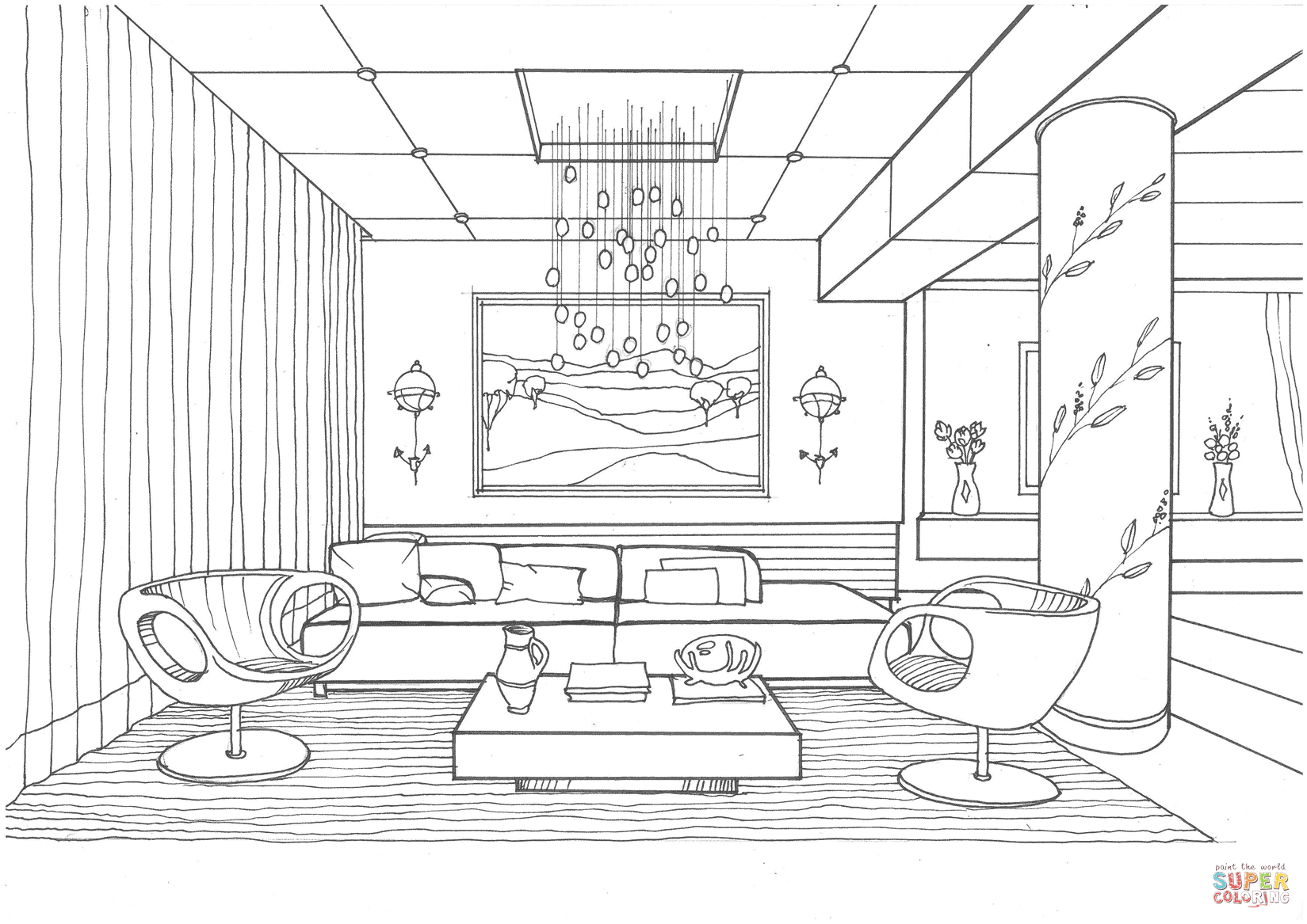 Living Room With Fireflies Coloring Page