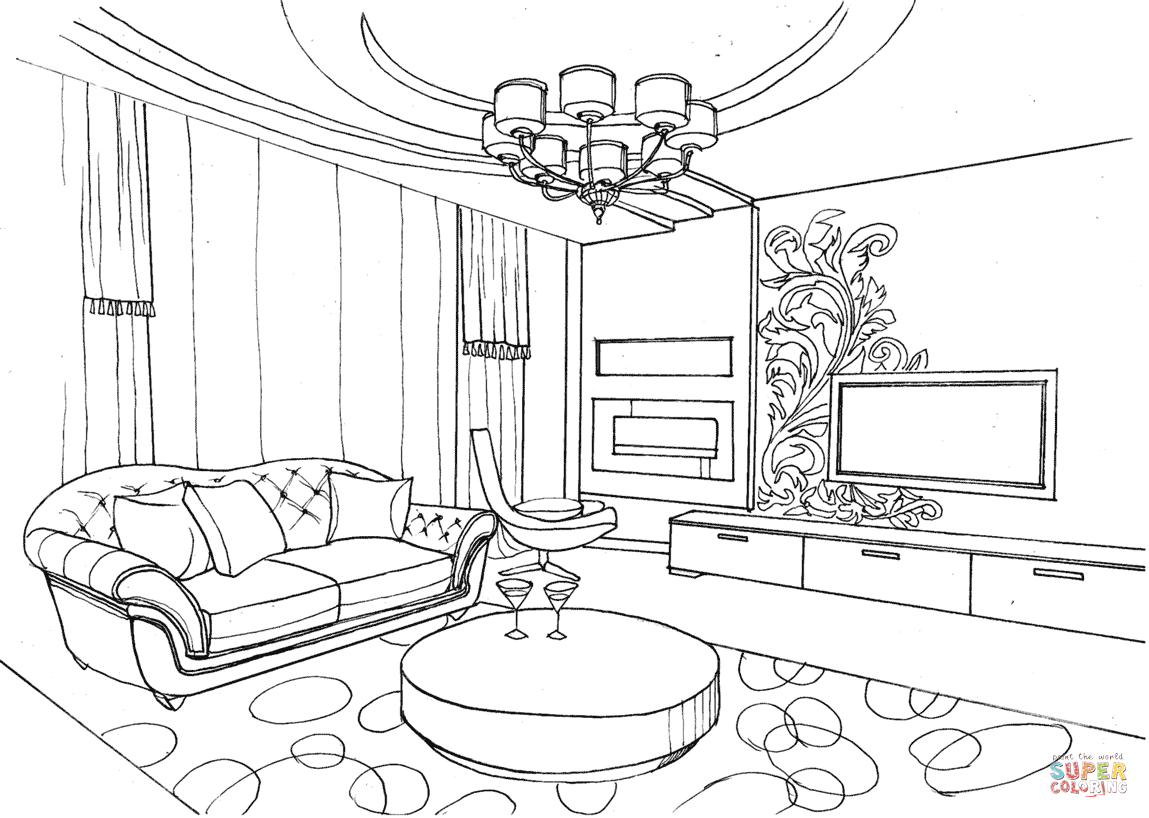 Living Room With Ornament Coloring Page