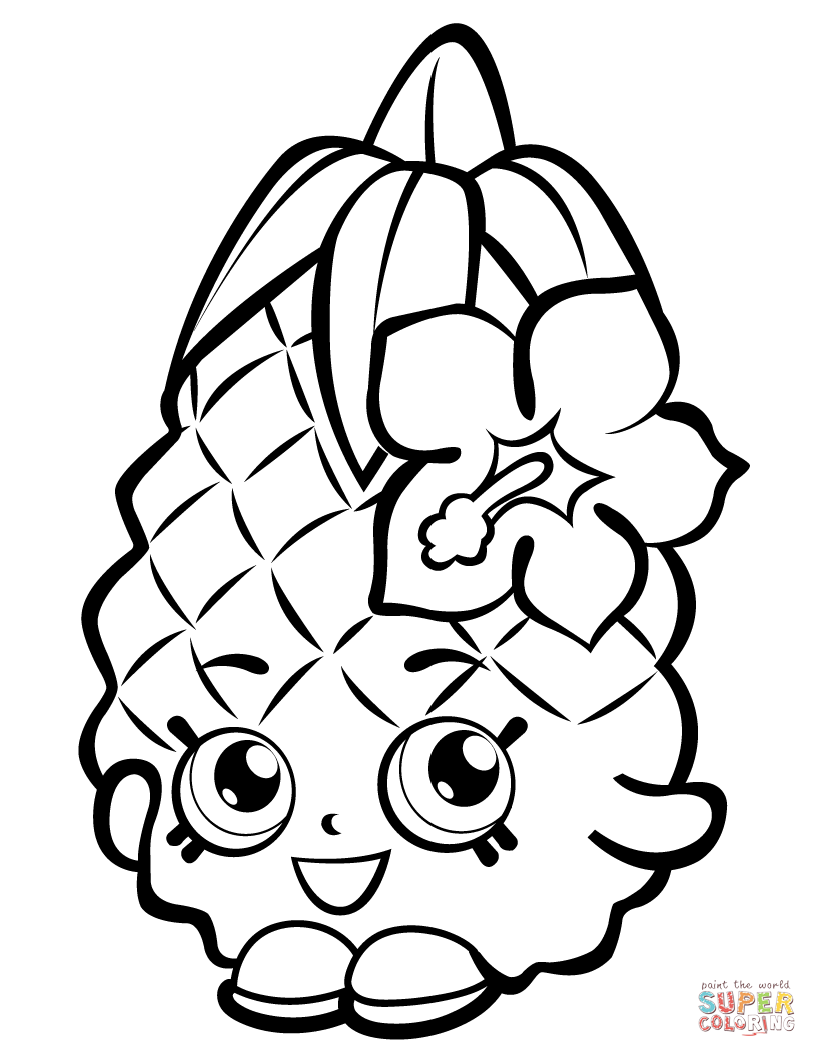 Pineapple Crush Shopkin Coloring Page Free Printable Coloring Pages