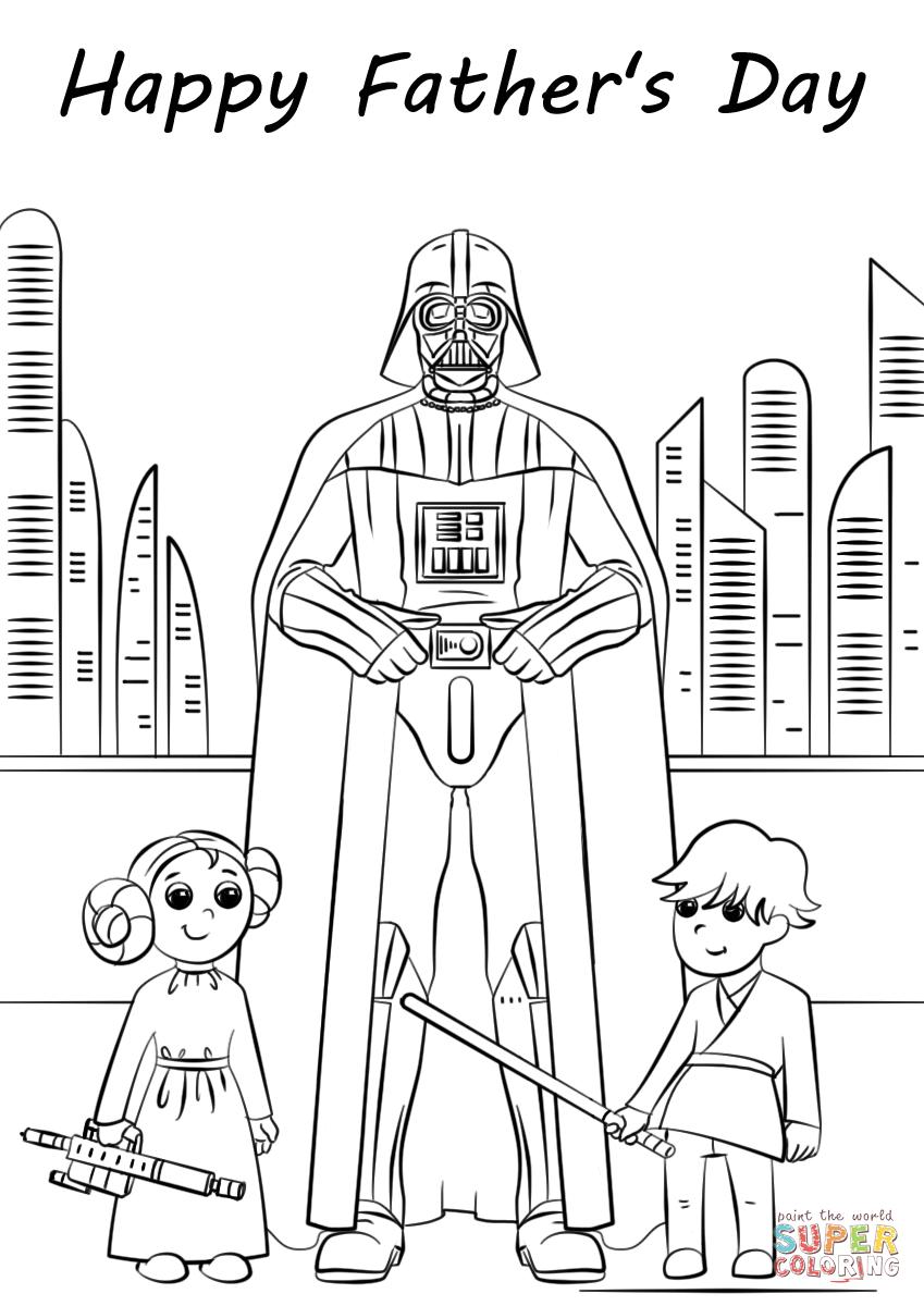 Dibujo de El día de Padre de Star Wars para colorear