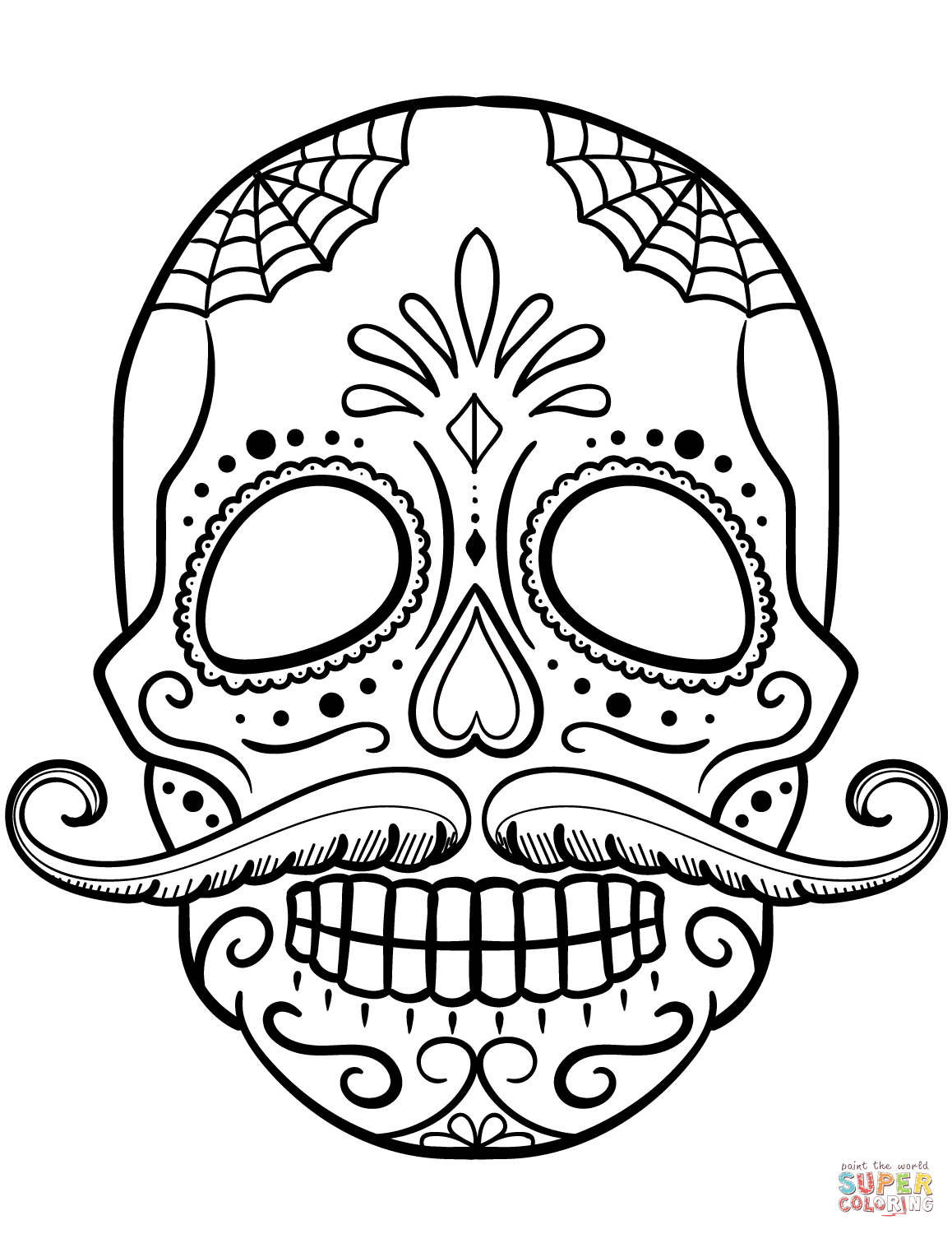 Sugar Skull With Mustache Coloring Page