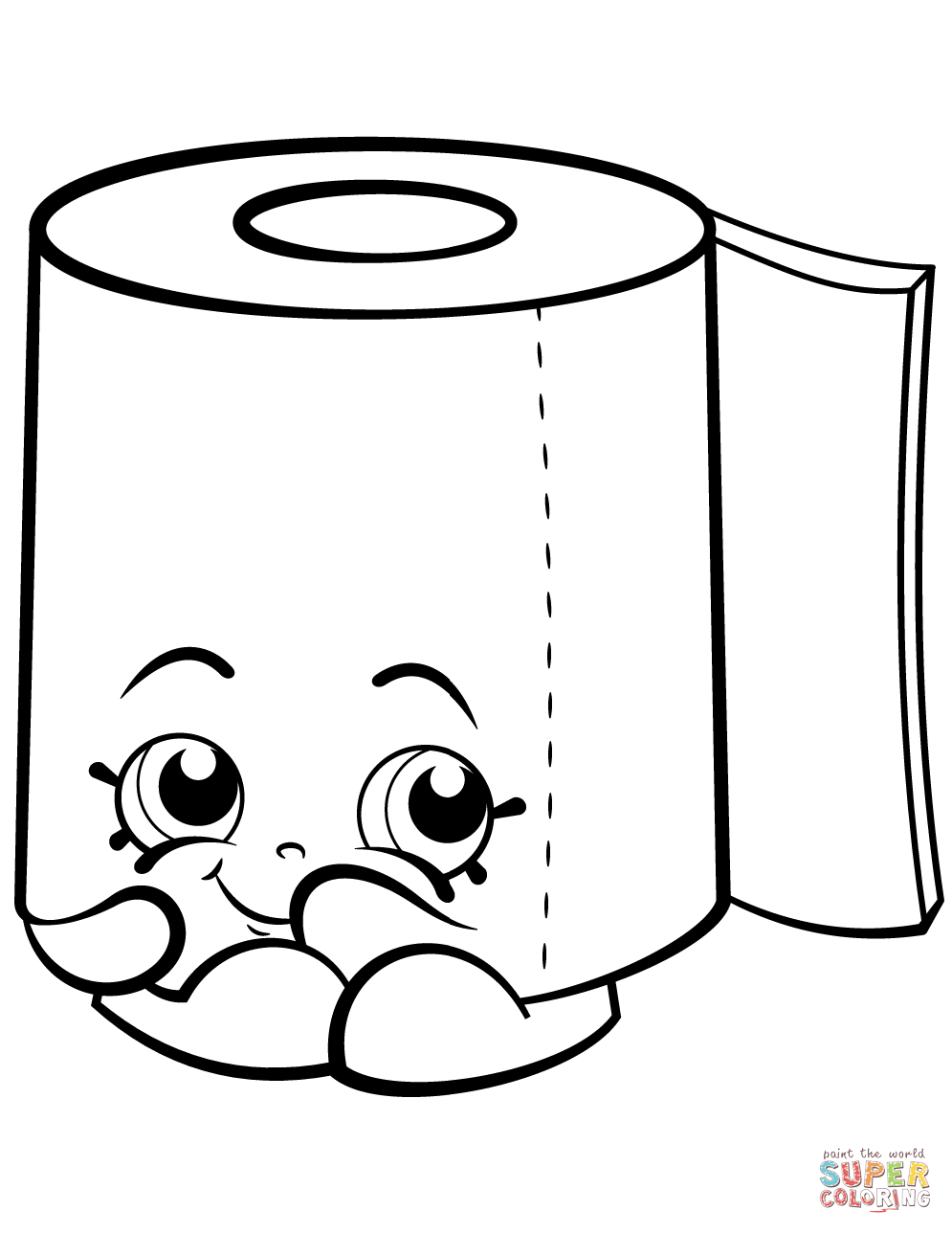 Sweat Leafy Roll of Toilet Paper Shopkin coloring page