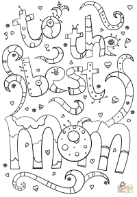 To the Best Mom Doodle coloring page | Free Printable ...