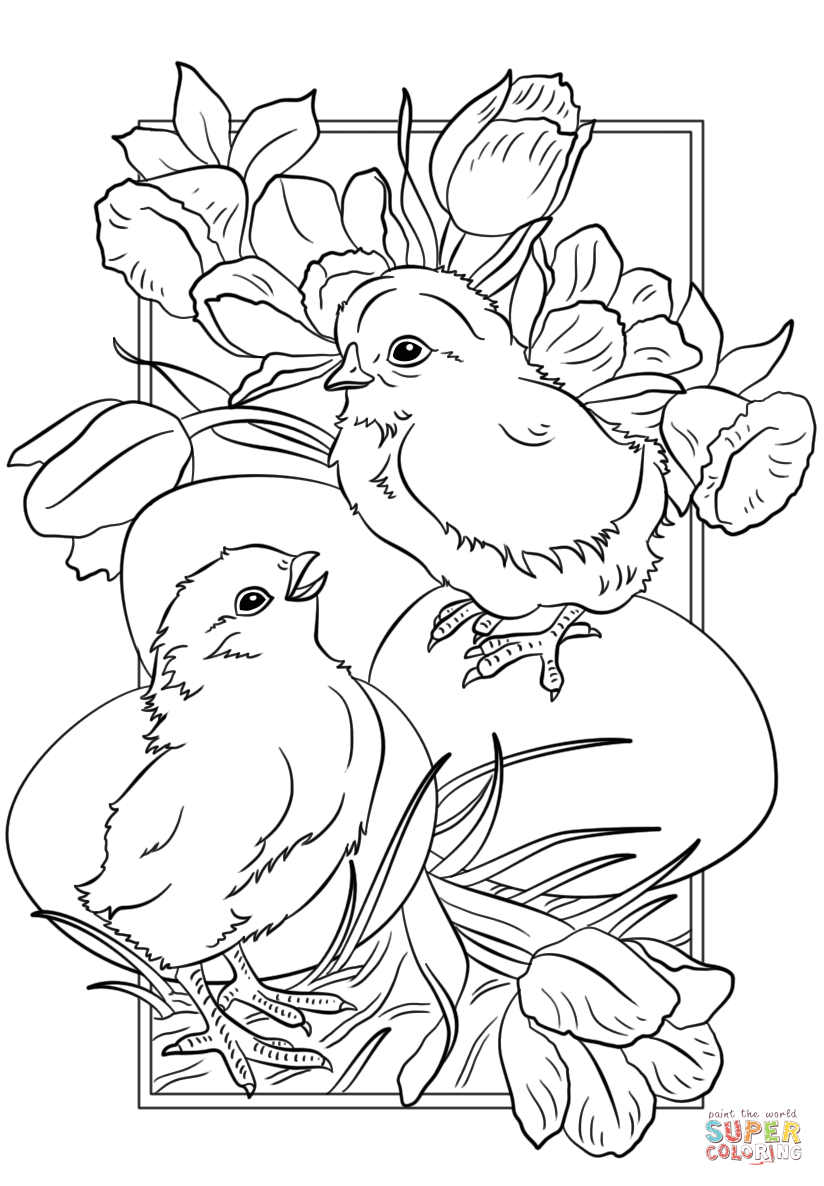 easter chicks coloring page  free printable coloring pages