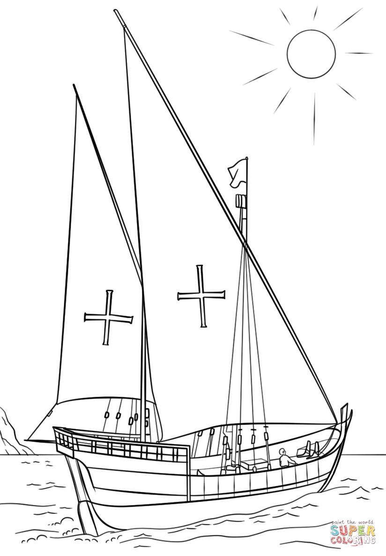 Desenho de Caravela Portuguesa Barco para colorir