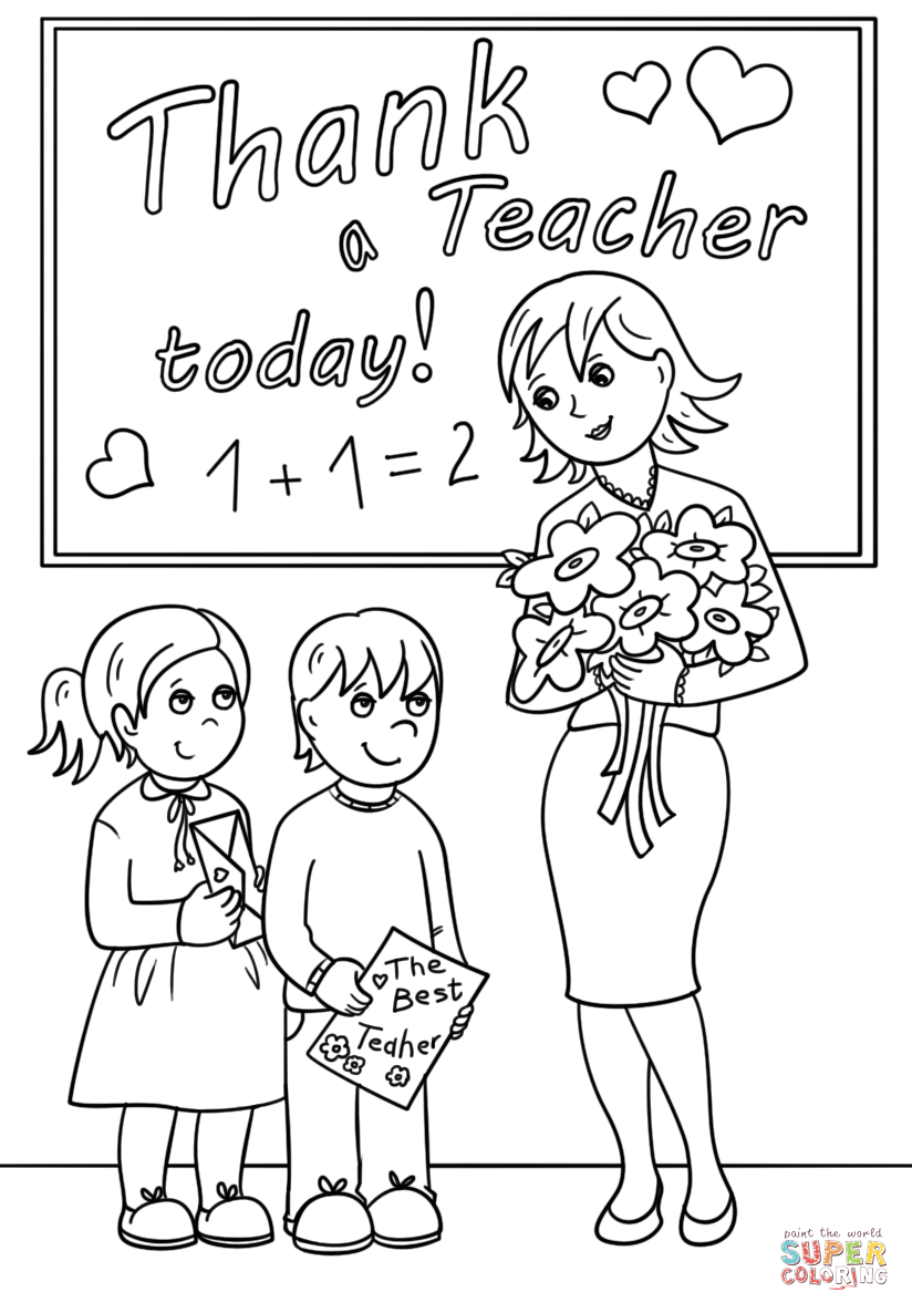 Thank A Teacher Today Coloring Page Free Printable Coloring Pages