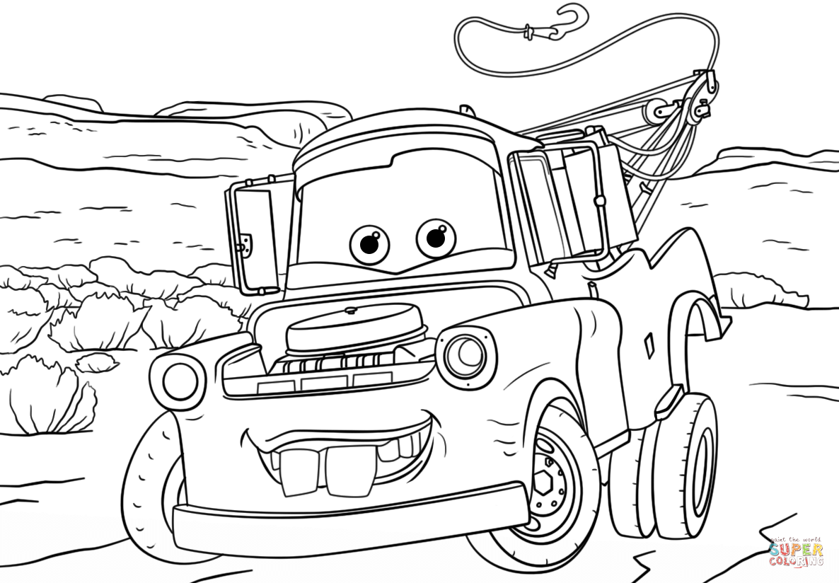 Tow Mater From Cars 3 Coloring Page Free Printable Coloring Pages