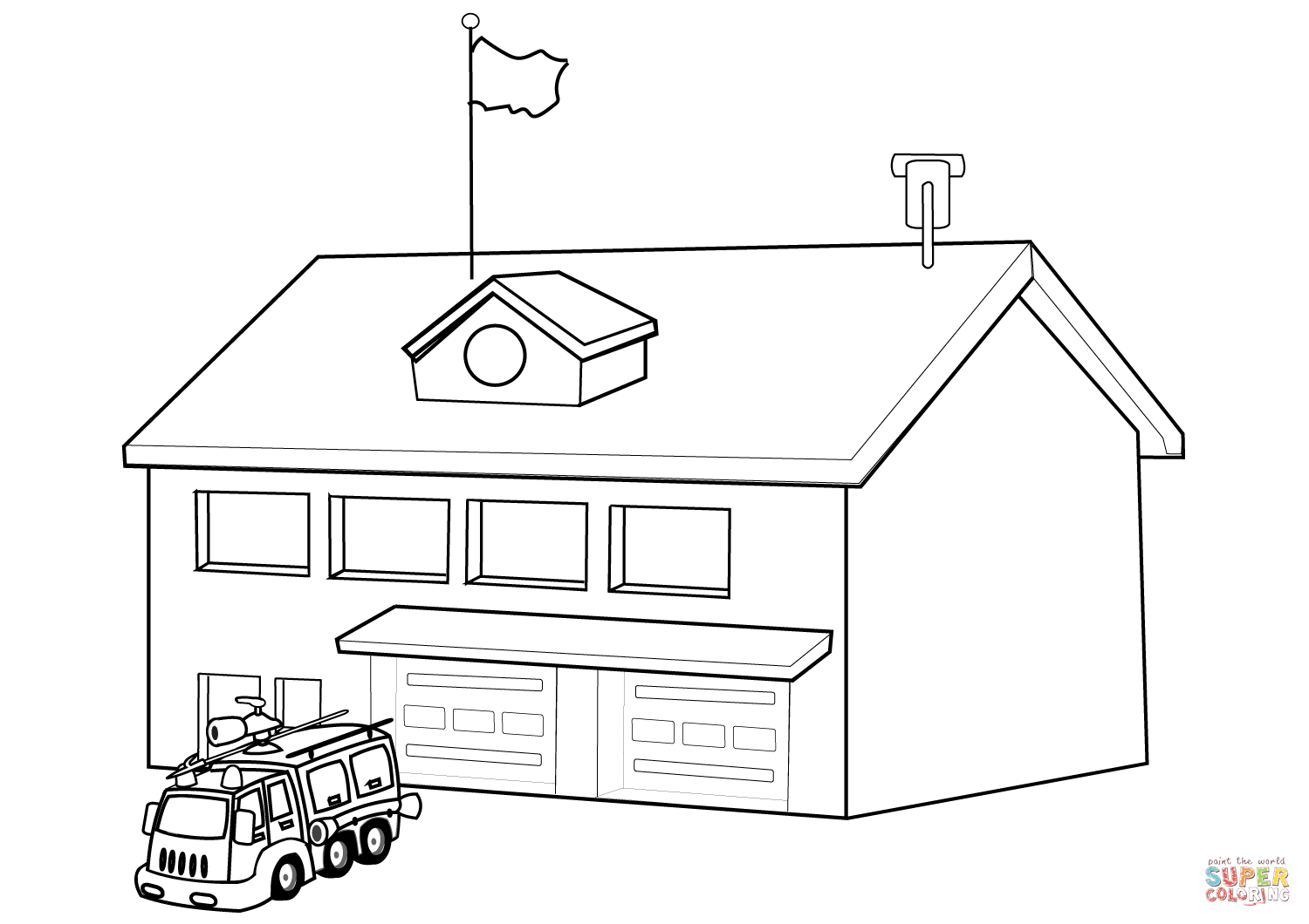 fire engine diagram in color
