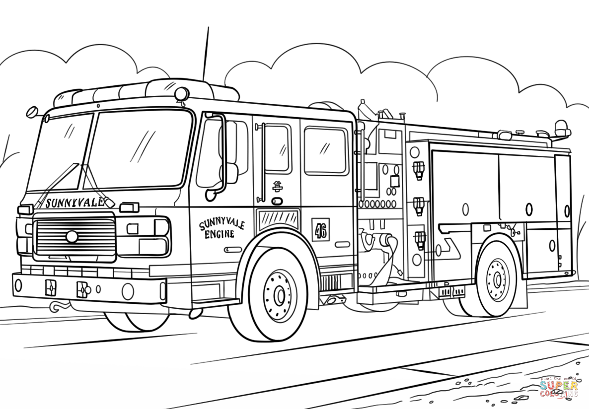 Fireman At Work Coloring Page