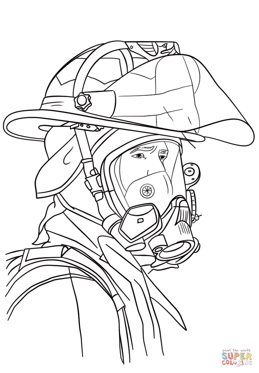 Firefighter Portrait Coloring Page Free Printable