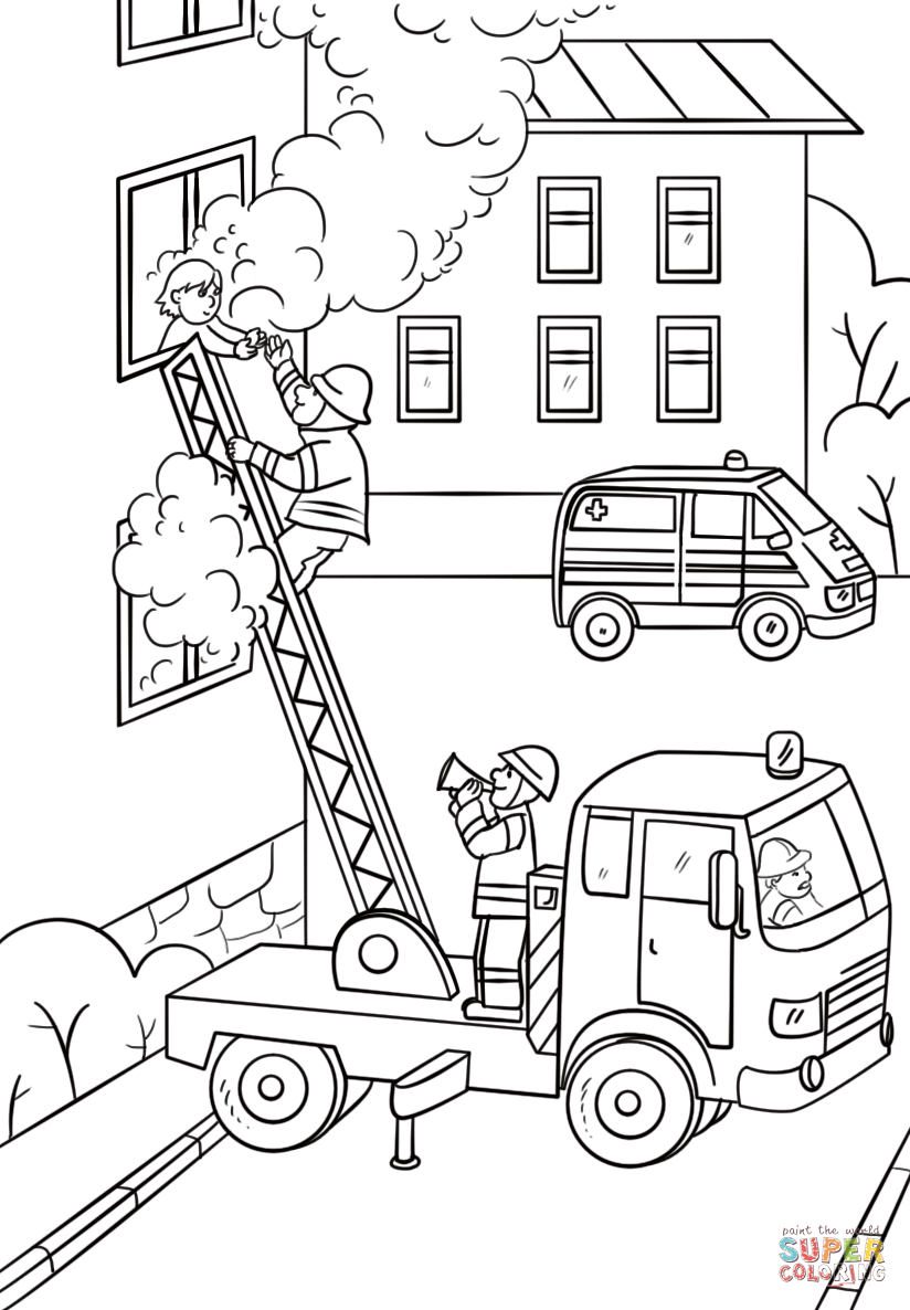 fireman is climbing up the truck ladder to save a girl