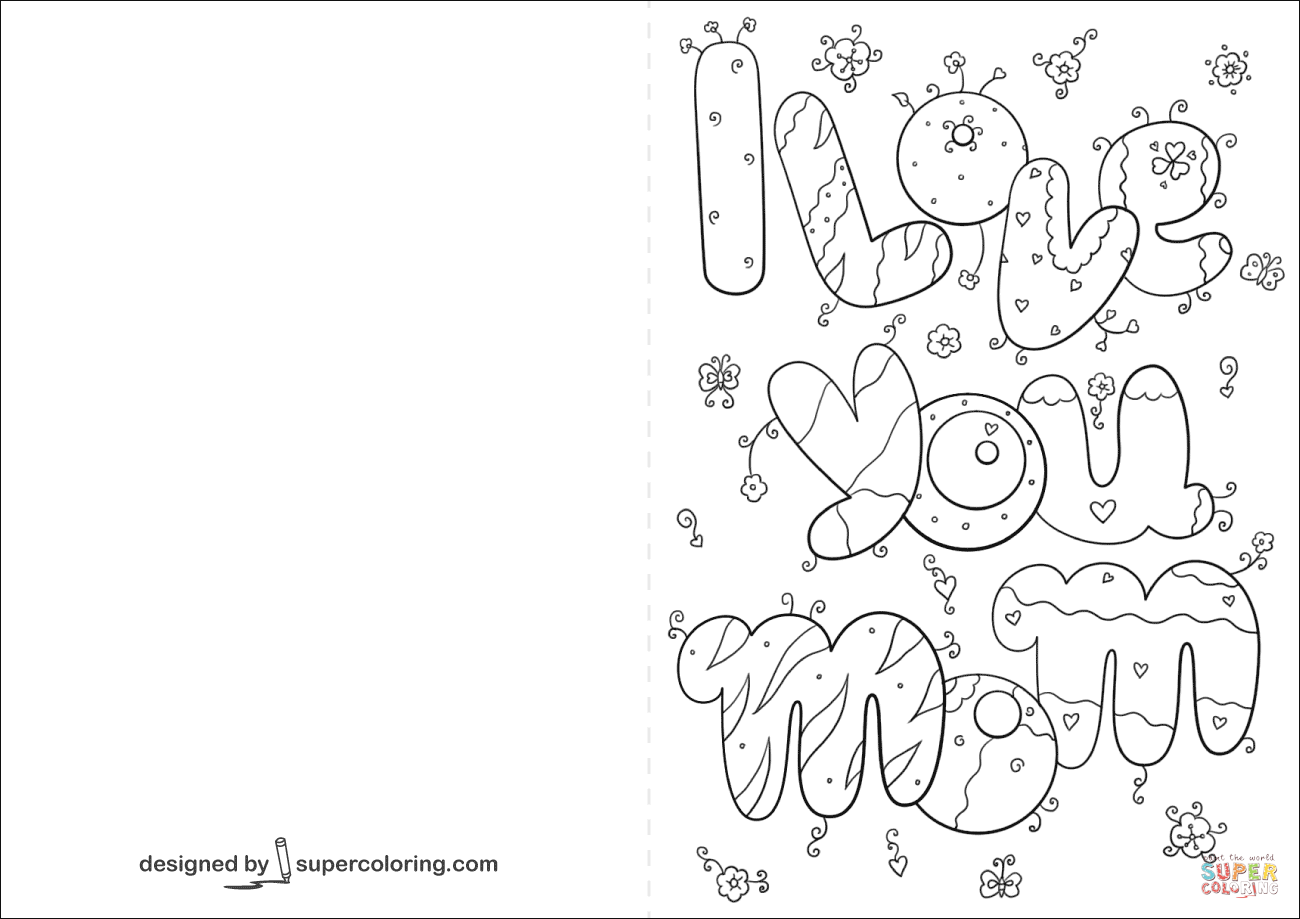 I Love You Mom Card Coloring Page