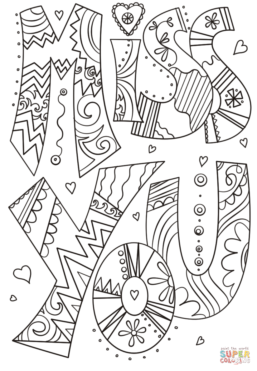 Miss You Doodle Coloring Page Free Printable Coloring Pages